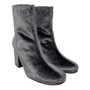 New Free People Cecile Grey Velvet Block Heel Ankle Booties Size 37 US 7